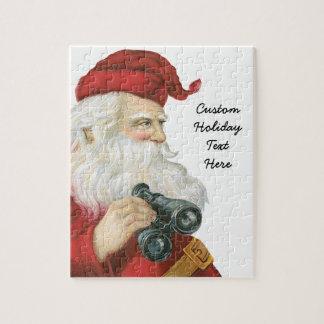 Vintage Christmas, Santa Claus with Binoculars Jigsaw Puzzle