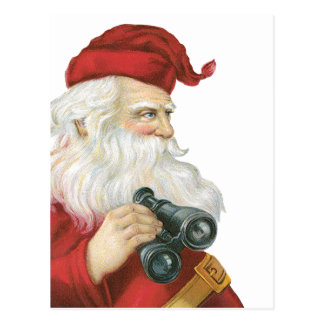 Vintage Christmas, Santa Claus with Binoculars Postcard