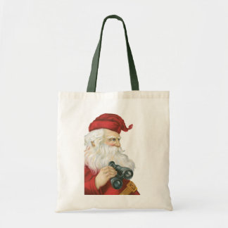 Vintage Christmas, Santa Claus with Binoculars Tote Bag