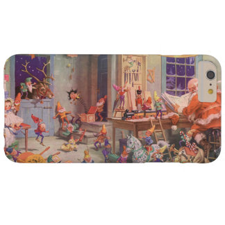 Vintage Christmas, Santa Claus with Elves Workshop Barely There iPhone 6 Plus Case
