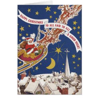 Vintage Christmas Santa Claus With Flying Reindeer Greeting Card