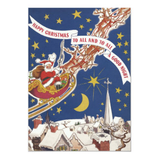 Vintage Christmas Santa Claus With Flying Reindeer 5x7 Paper Invitation Card