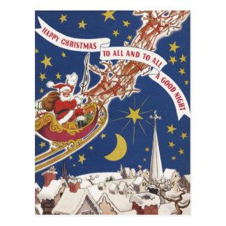 Vintage Christmas Santa Claus With Flying Reindeer Postcard