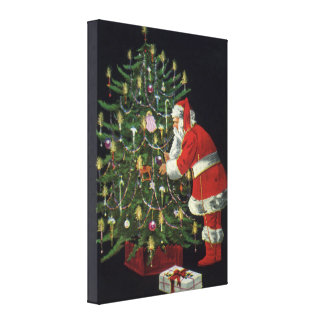 Vintage Christmas, Santa Claus with Presents Canvas Prints