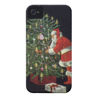 Vintage Christmas, Santa Claus with Presents Case-Mate iPhone 4 Cases