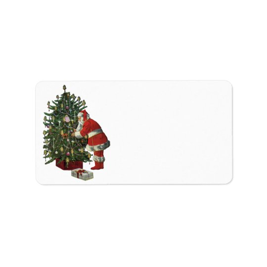 Vintage Christmas, Santa Claus with Presents Label