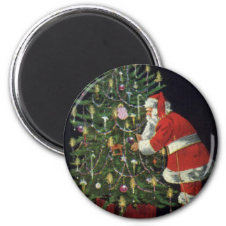 Vintage Christmas, Santa Claus with Presents Magnet