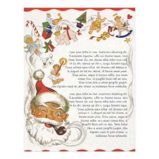 Vintage Christmas, Santa Claus with Toys and Dolls Letterhead