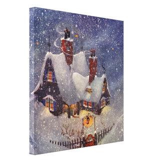 Vintage Christmas, Santa Claus Workshop North Pole Canvas Prints