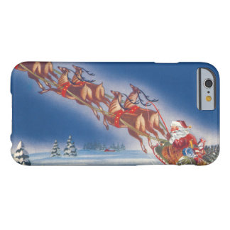 Vintage Christmas, Santa Flying Sleigh w Reindeer Barely There iPhone 6 Case