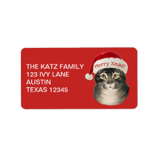Vintage Christmas Santa Hat Cat Label