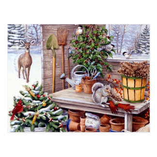 Vintage Christmas Santa Holiday Pattern Postcard