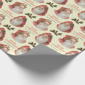 Vintage Christmas Santa Holly Beige Personalized Wrapping Paper