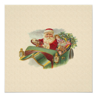 "Vintage Christmas Santa in a Classic Antique Car 5.25"" Square Invitation Card"