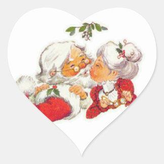 Vintage Christmas Santa Kissing Mrs Claus Heart Sticker