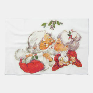 Vintage Christmas Santa Kissing Mrs Claus Kitchen Towel