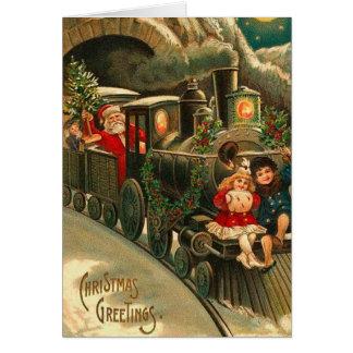Vintage Christmas Santa On Train Card
