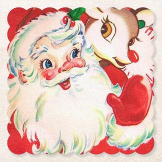 Vintage Christmas Santa reindeer party coaster