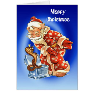 Vintage Christmas, Santa snake charmer Card