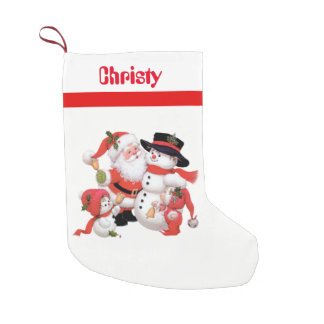 Vintage Christmas Santa snowman Holiday stocking