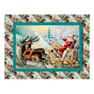 Vintage Christmas, Santa's journey by sleigh Postcard