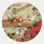 Vintage Christmas Santa's Workshop Toys Art Gifts Round Stickers