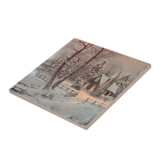 Vintage Christmas Scene Church Ceramic Tile