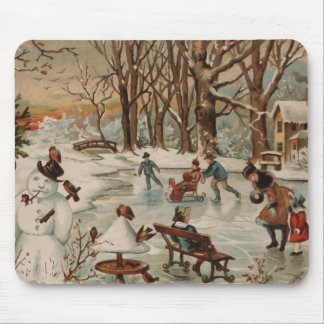 Vintage Christmas scene ice skating Mouse Pad