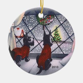 Vintage Christmas Scottie Puppies Custom Dated Ceramic Ornament