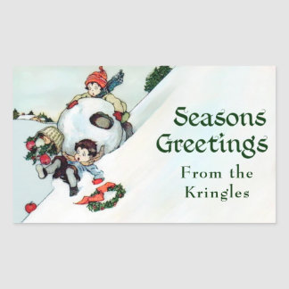 Vintage Christmas Season's Greetings Personalized Sticker