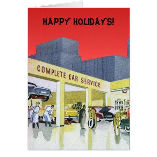 Vintage Christmas, Service Garage Auto Mechanics Greeting Card