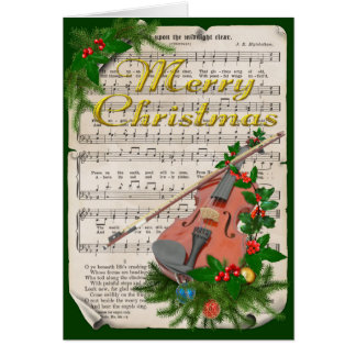 Vintage Christmas Sheet Music with Festive Violin Card