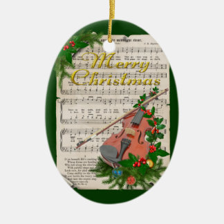 Vintage Christmas Sheet Music with Festive Violin Ceramic Ornament