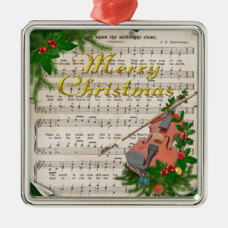 Vintage Christmas Sheet Music with Festive Violin Silver-Colored Square Ornament
