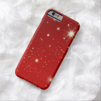 Vintage Christmas, Shining Stars in Red Galaxy Barely There iPhone 6 Case