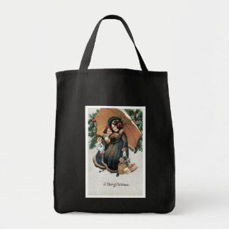 Vintage Christmas Shopping in Snow Tote Bag