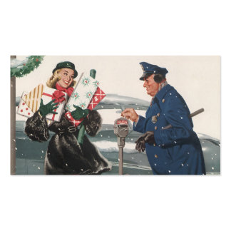 Vintage Christmas, Shopping Presents Policeman Business Cards