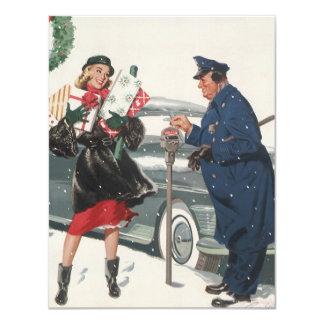 "Vintage Christmas, Shopping Presents Policeman 4.25"" X 5.5"" Invitation Card"