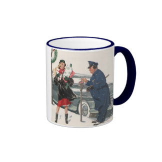 Vintage Christmas, Shopping Presents Policeman Mug