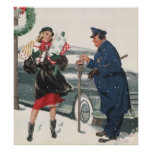 Vintage Christmas, Shopping Presents Policeman Poster