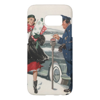 Vintage Christmas, Shopping Presents Policeman Samsung Galaxy S7 Case