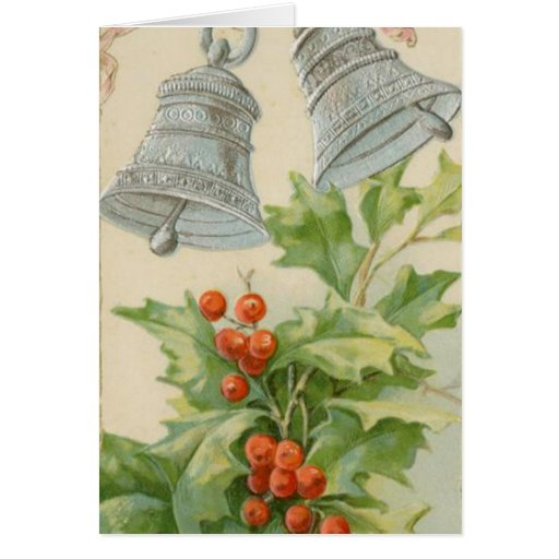 Vintage Christmas Silver Bells & Holly Cards