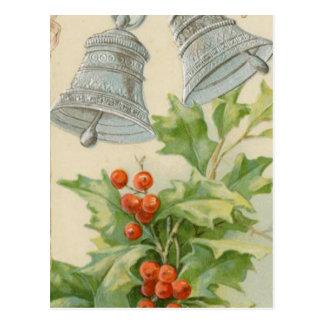 Vintage Christmas Silver Bells & Holly Postcard
