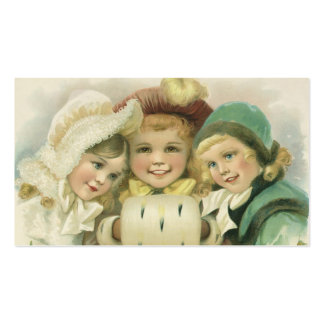 Vintage Christmas Sisters, Victorian Children Business Card