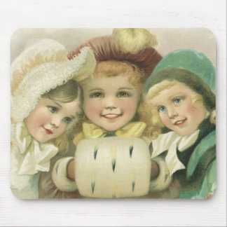 Vintage Christmas Sisters, Victorian Children Mouse Pad