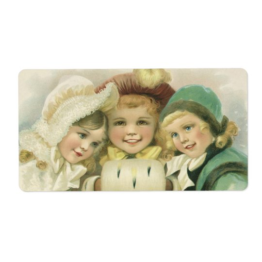 Vintage Christmas Sisters, Victorian Children Shipping Label