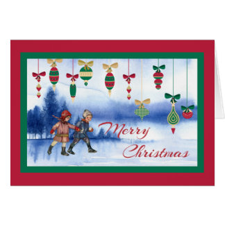 Vintage Christmas Skating Children and Ornaments Card
