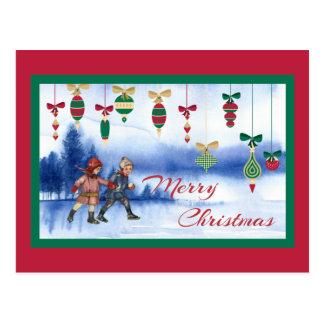 Vintage Christmas Skating Children and Ornaments Postcard