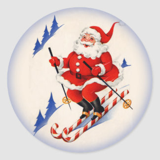 Vintage Christmas Skiing Santa Claus Sticker