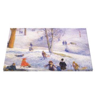 Vintage Christmas, Sledding, Central Park Glackens Canvas Print